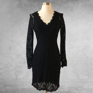 ADRIANNA PAPELL Black Lace Overlay Evening Dress
